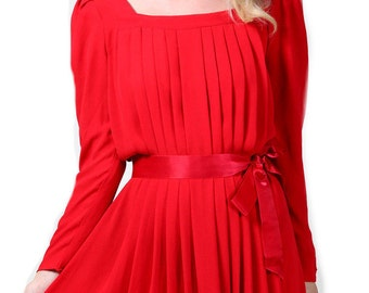 Vintage Red Pleated Dress