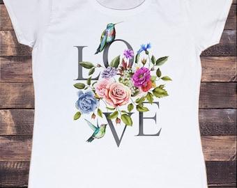 Women's 'LOVE' dreamer Parrots & flowers Floral Colourful Print TS1010