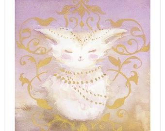 Bliss Cat, Archival Fine Art Print, Signed, Kitty with Enchanted Magical Gold Filigree, Giclee