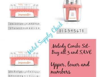 Melody Metal Stamp Set Impressart 3mm-COMBO- Get all 3-Metal Alphabet Set Punch Set-Metal Supply Chick-Jenna Sue Type-NEW