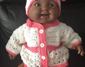 crochet baby girl set sweater and hat