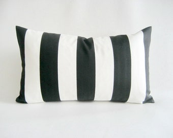 Lumbar Pillow Cover Indoor Outdoor Black White Stripes