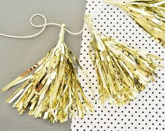 Gold Mini Tassels - Mini Tassel Garland Pink and Gold Party Decor Tassels Metallic Gold Tassel Garland 2  (EB3087) - set of 12 Mini Tassels