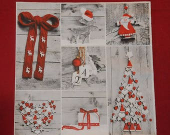 """Christmas themed paper napkin """"collage winter"""""""