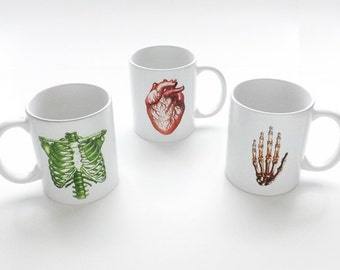 Anatomy coffee MUG anatomical unique hostess gift for doctor him her heart cardiology stocking stuffer medical grey human body mother's day