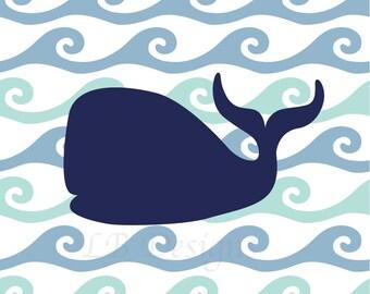 Navy Blue Whale, Nautical Nursery Art, Whale Nursery Decor, Nautical Bedroom Decor - 8x10
