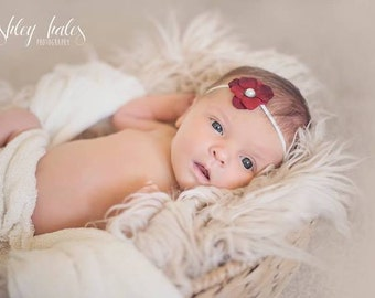 Red Headband, Red Flower Headband, Dark Red Headband, Dark Red Flower Baby Headband, Dark Red Newborn Headband, Deep Red Newborn Photo Prop