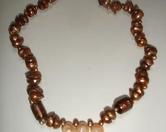 Freshwater pearls in brown