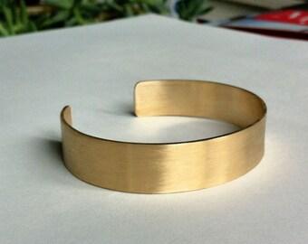 Rectangle plain cuff, Honey colored plain brass cuff 0075