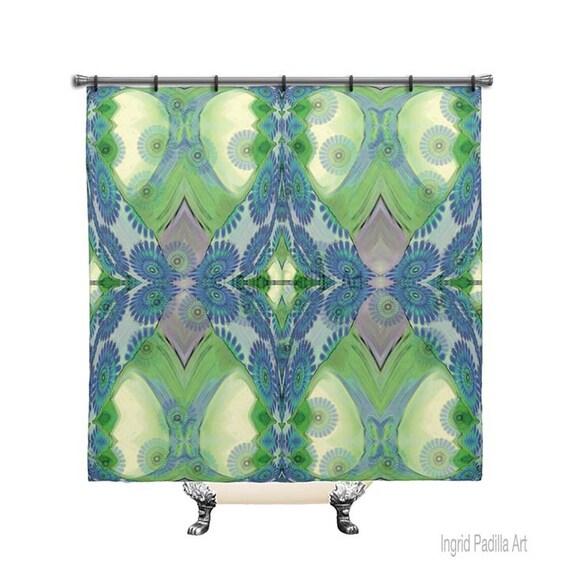 Floral, Blue, BOHO, Chic, Custom, Shower Curtain, Printed, Fabric, Bath Decor, Home Decor, Funky, Art, by Ingrid Padilla