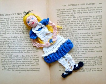 alice in wonderland thread crochet bookmark, unique bookmark, gift for readers, wall decor, nursery wall art, shadow box art,