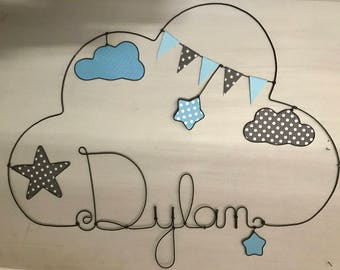 Name in wire-customizable cloud and stars-decoration child by Chacha stars