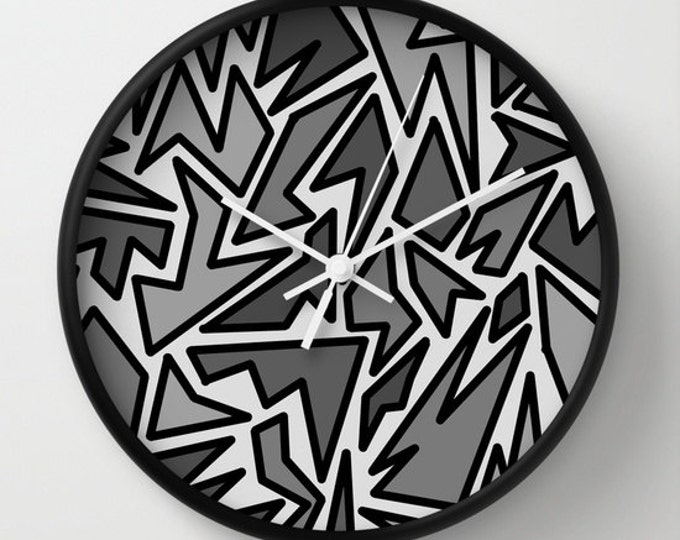 Black and Gray Clock - Wall Clock - Zig Zag Art  - Abstract Black and Gray Art - Made to Order