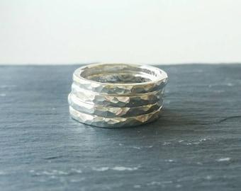 Rings. Stackable Rings. Sterling Silver Ring set of 4 stackable rings. Hammered ring set silver. Jewellery, Rings, Stackable rings.