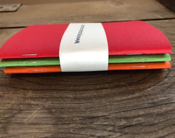 Pocket Notebooks Red/Green/Orange Textured Cover