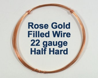 Rose Gold Filled Wire - 22ga HH Half Hard - Choose Your Length
