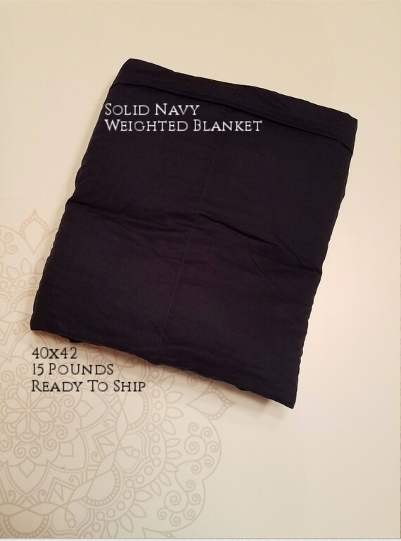 READY to SHIP, Weighted Blanket, 40x42-15 Pounds, Navy Cotton Front, Navy Cotton Back, Sensory Blanket, Calming Blanket,