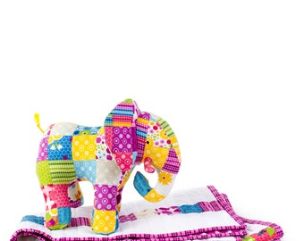 Patchwork Elephant and Baby Quilt - PDF Sewing Pattern with Step-By-Step Photos and Instructions