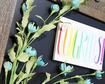 Congrats, Congratulations greeting card, handlettered, customizable, 5x7,
