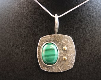 Etched Sterling Silver Pendant with Malachite Stone (060818-006)