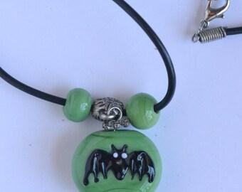 Halloween necklace, Halloween Bat Pendant, Glass Bat bead pendant, Bat pendant, Glass Bead bat Pendant Necklace