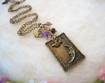 Halbmond Halskette Bronze gerahmt Mond Vögel Blume Perlen Mond Halskette Moon Schmuck himmlischen Mond Schmuck Vintage-Stil Charms handgefertigt