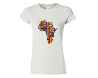 African Clothing, Tees, African Tee, Africa Map Shirt | Women's Clothing | Pick your print! |
