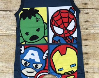 Infant Toddler Baby Supehero Romper / Boutique/ 100% organic cotton / Boys Romper / Marvel Comics / Spiderman Hulk Iron Man Captain America