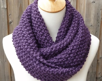 SALE - Eggplant Wool Infinity Scarf - Dark Orchid Infinity Scarf - Dark Purple Scarf  - Chunky Knit Scarf - Circle Scarf - Ready to Ship