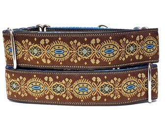 "RENAISSANCE DOG BLUE Brown and Blue 1.5"" wide Martingale Dog Collar, Safety Collar, Greyhound Collar, Sighthound Collar, Adjustable"