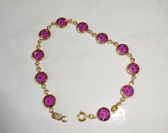 Vintage Swarovski Crystal Bracelet Amethyst Gold Tone Bezel Set Crystals