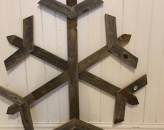 "36"" Large wooden snowflake, Reclaimed wood snowflakes, rustic wooden snowflakes, Rustic Winter Home Decor, weathered barn wood snowflakes"