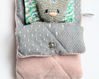 Handmade toy with cushion in sleeping bag