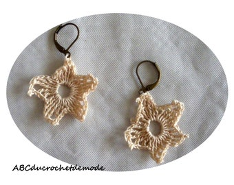 Unique model earring, jewelry made of cotton.