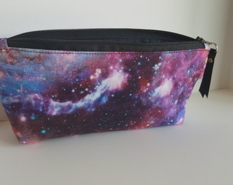Galaxy pencil pouch, Universe zipper pouch, stars cosmetic bag
