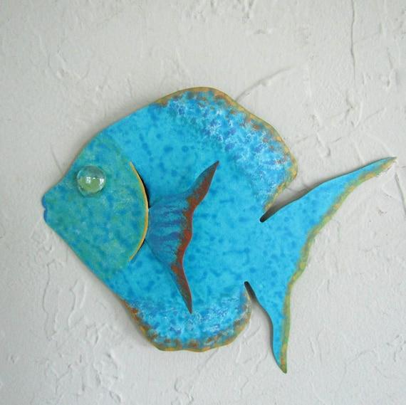 Metal Wall Art Fish Sculpture Recycled Metal Beach House