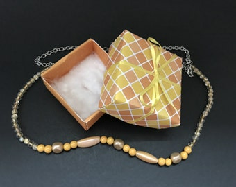 Yellow and orange beaded/ chain necklace