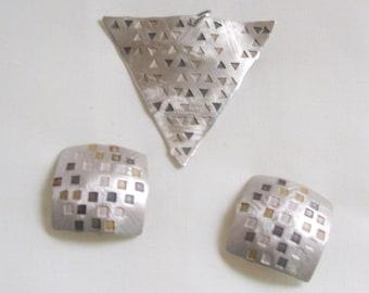 Designer Jan Suchodolski Clip Earrings and Pendant/Brooch