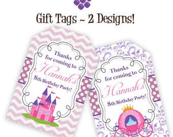 Princess Gift Tags - Pink Chevron, Purple Damask, Princess Castle Carriage Personalized Birthday Party Gift Tags - A Digital Printable File