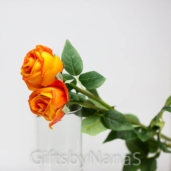 3pc orange real touch flowers real touch roses orange silk roses 3pc orange real touch flowers real touch roses orange silk roses wedding flowers silk flowers centerpiece flowers cheap silk flowers from giftsbynanas mightylinksfo