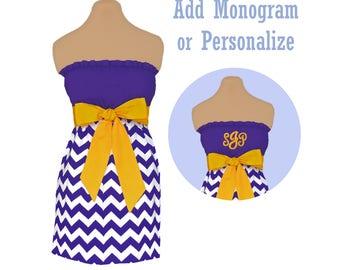 Purple + Bright Gold Chevron Dress