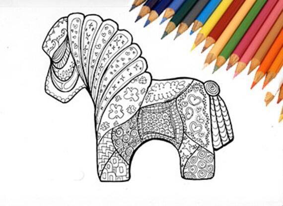 Pagine Da Colorare Per Adulti Libro Modello Astratto: Cavallo Da Colorare Stampabile Bambini Adulti Cavallino Pony