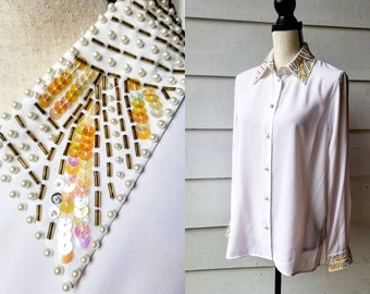 1980s Beaded and Sequin Blouse    Pink Shimmer    Large