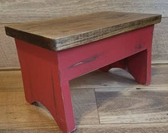 Step Stool, Barn Red Foot Stool,  Farm Stool, Riser,Country Vintage Milking Stool, Foot Rest,Weathered Shabby Stool