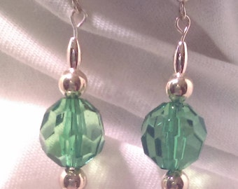 Gold and Green Dangle Earrings