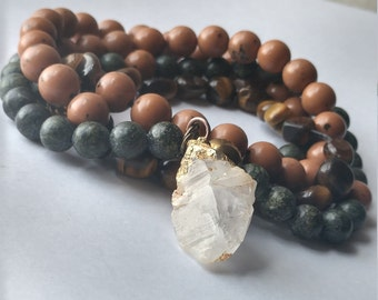 Stoking the Fire. Tigers Eye, Serpentine and Natural Translucent Quartz Crystal. 98 bead mala Bracelet or Necklace