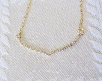 """Gold Filled Necklace with Gold Pave Wing Charm, 16"""", GN-133"""