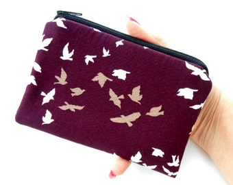 Small Zipper Pouch Coin Purse ECO Friendly Padded Plum Winged Birds