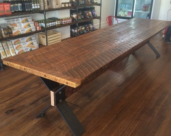 Harvest Table from Reclaimed Fir with Trestle Base