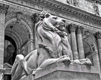 New York City Public Library Black & White Fine Art Print - Travel, Scenic, Landscape, Nature, Home Decor, Zen
